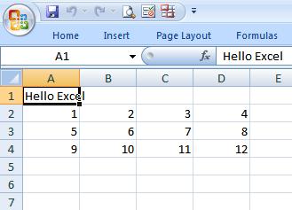 Excel data insertion