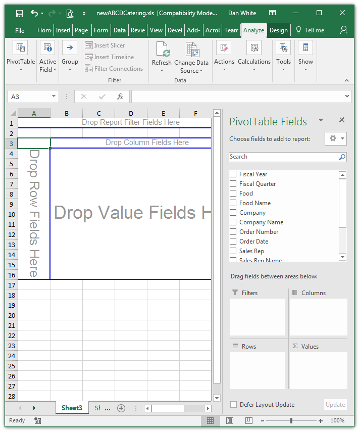Empty Pivot Table